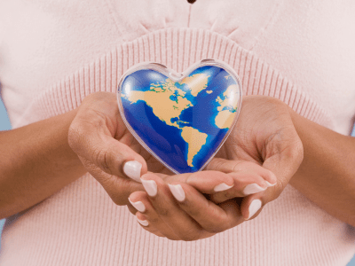 Handing holding world heart
